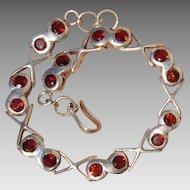 Gorgeous Garnets 'Infinity' Sterling Hand Made Vintage Bracelet