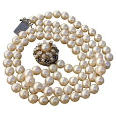 14K Sapphires, Diamonds Double Strand 7mm Akoya Pearls Vintage Necklace