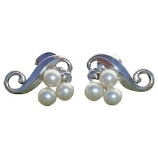 Mikimoto PIERCED Akoya Pearls & Sterling Japanese Vintage Earrings
