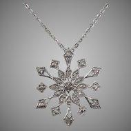 Vintage Diamond & Sterling Snowflake Pendant