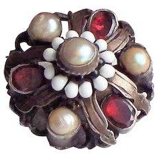 Antique Austro Hungarian Garnet, Natural Pearl, Enamel & Sterling Brooch / Pin c. 1870