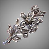 Georgian / Victorian Diamond Gold & Silver Floral Brooch - Antique, Circa 1850