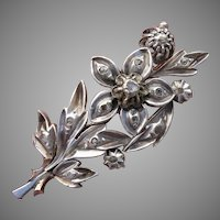 VALENTINES SPECIAL - over 50% OFF ! Georgian / Victorian Diamond Gold & Silver Floral Brooch - Antique, Circa 1850