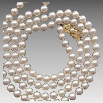 "MIKIMOTO 30"" Long 18K Gold 6.3mm Akoya Pearl Vintage Necklace - Original Box & Folder, Valentines"