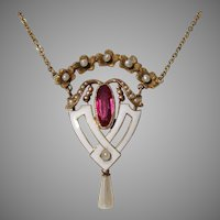 Enamel 14K Pink Tourmaline Paste & Seed Pearls Victorian Heart Necklace