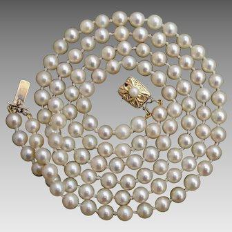 "MIKIMOTO 34.75"" Total Length 14K Gold Two-Strand Akoya Pearl Vintage Necklace w/ Original Case"