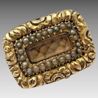 Georgian Seed Pearl & Woven Hair Gold Cased Antique Mourning Brooch Pin