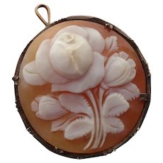 Lovely Antique Rose Shell Cameo Brooch / Pendant in .800 Silver