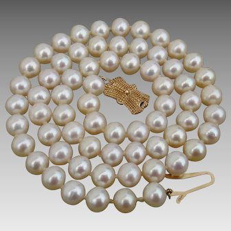 """Mikimoto Blue Lagoon Akoya 6.5mm Pearl & 14K Gold 18.3"""" Necklace in Original Silk Pouch"""