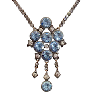 Gorgeous Georgian Blue & White Clear Diamond Paste Sterling Silver & 14K Gold Antique Necklace