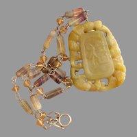 Divine Golden Jade, Rainbow Fluorite & Sterling Silver Gemstone Vintage Necklace