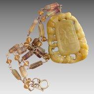 Divine Golden Jade & Rainbow Fluorite Sterling Silver Gemstone Vintage Necklace