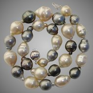 "17.2mm South Sea & Tahitian LARGE Cultured Pearls Necklace - 18"" Long"