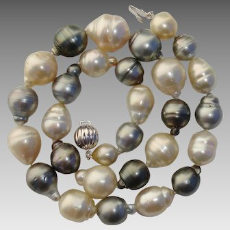 """17.2mm South Sea & Tahitian LARGE Cultured Pearls Necklace - 18"""" Long - Valentine's Day"""