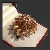 Napier Honey Amber Glass Tiered Vintage Navette Cocktail Ring - 1960s