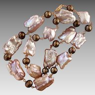 """LARGE 22mm Luscious Lavender Pink & Bronze Cultured Pearls & 14K Gold 20.75"""" Long Necklace"""