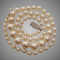 VALENTINE SPECIAL - $700 OFF ! ..SUPER RARE 1920's Mikimoto Art Deco Rose Cut Diamonds, Platinum & 18K Gold Akoya Pearls