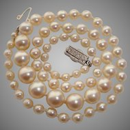 RARE 1920's Mikimoto ART DECO Rose Cut Diamonds, Platinum & 18K Gold Akoya Pearls