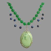 SALE ! Celadon Jade, Chrysoprase, Lapis Gemstones & Sterling Silver Vintage Necklace