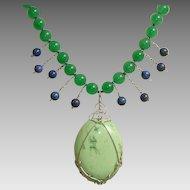 Celadon Jade, Chrysoprase, Lapis Gemstones & Sterling Silver Vintage Necklace