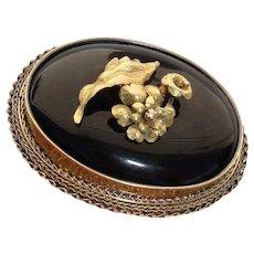"18 Karat Gold Antique Floral Brooch, Large 1.75"" by 1.5"" Victorian circa 1870"