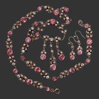 Belle Epoque Pink & White Paste Antique Victorian Silver Necklace & Earrings Set