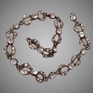 Sterling Bows & Paste Superb Georgian Revival Signed Vintage Bracelet - London