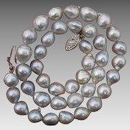 Beautiful Silvery Blue Baroque Akoya Pearl & 14K White Gold Vintage Necklace / Bracelet