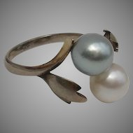 LUMINOUS Blue & White Akoya AAA+ Cultured Pearl & Sterling Japanese Vintage Ring - Size 6