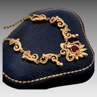 1930s 18K Diamond & Pink / Red Tourmaline Gold Necklace - Hefty 18 Grams