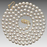 "MIKIMOTO 30"" Long 18K Gold Akoya Pearl Vintage Necklace - Original Box & Folder"