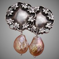 LARGE 16mm Kasumi Pearls & Sterling Ivy Post Style -- EXQUISITE Vintage Earrings !