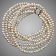 "Beautiful Triple Strand 51""+ Akoya Pearl Sterling & Diamond Vintage Necklace, Signed"
