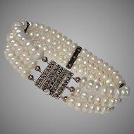 Gorgeous Akoya Pearls & Marcasite Sterling Bracelet, Vintage 1980's