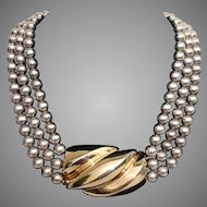 Bold Patricia Von Musulin Sterling Gold Vermeil Vintage Necklace - Heavy 157 Grams !