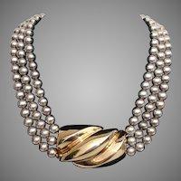 VALENTINE's SPECIAL  - 35%+ OFF ! ..BIG & BOLD Patricia Von Musulin Sterling Gold Vermeil Vintage Necklace - Heavy 157 Grams !