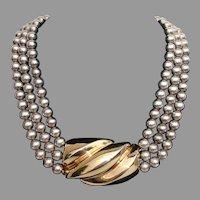 SALE ! -BIG & BOLD Patricia Von Musulin Sterling Silver Gold Vermeil Vintage Necklace - Heavy 157 Grams !