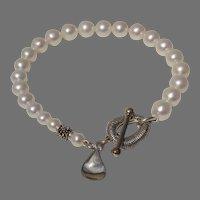 "LUSCIOUS Michael Dawkins Cultured Pearl Sterling 8"" Designer Vintage Bracelet"
