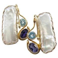 Vintage Tanzanite, Blue Topaz & Freshwater Pearl Snakes Sterling Silver Pierced Earrings -- Artist Signed