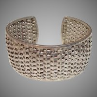 """Mexico Taxco Woven Sterling Silver 1.25"""" Wide Vintage Cuff Mexican Bracelet"""