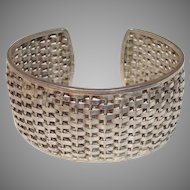 "Mexico Taxco Woven Sterling Silver 1.25"" Wide Vintage Cuff Mexican Bracelet"