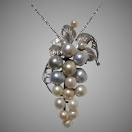 Akoya Pearl Sterling Grapes Mid-Century Pendant - Converted from Brooch, Vintage Japanese !