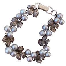 Gorgeous Blue Akoya Pearl Grapes & Leaves Japanese Sterling Bracelet, Vintage 1950's