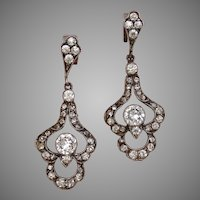 Victorian Sparkling Paste Silver & Gold Post Antique Signed Earrings