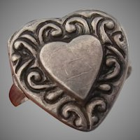 Sweet Sterling Locket Vintage Heart Ring - Victorian Revival - Ring Size 6