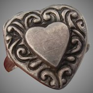 Sweet Sterling Locket Vintage Heart Ring - Victorian Revival - Ring Size 6