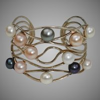 VALENTINE SPECIAL ! ..Large Cultured Pearls & Sterling Silver WIDE Vintage Cuff Bracelet !