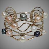 Large Cultured Pearls & Sterling Silver WIDE Vintage Cuff Bracelet !