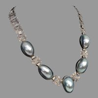 SALE ! -Incredibly LUMINOUS Unusual Nautilus Shell, Ornate Chain Sterling Silver Vintage Necklace