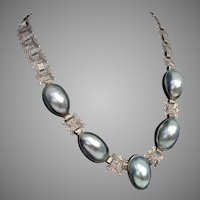 Incredibly LUMINOUS & Unusual Nautilus Shell, Ornate Chain Sterling Vintage Necklace